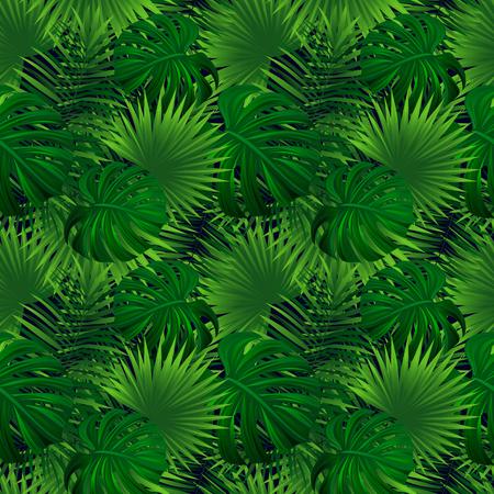 Nahtloses Muster des tropischen Regenwaldes. exotische Pflanzen-Vektor-Illustration. Dschungel Hintergrund. Grüne Kräutertextur. schöne tropische Landschaft. Sommerurlaub, Reisedesign. Helle Farben