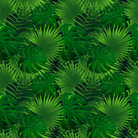 Tropical rainforest seamless pattern. exotic plants vector illustration. jungle background. Green herbage texture. beautiful tropic landscape. Summer vacation,travel design. Bright colors