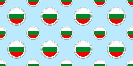 Bulgaria round flag seamless pattern. Bulgarian background. Vector circle icons. Geometric symbols. Texture for sports pages, competition, games. travelling, design elements. patriotic wallpaper