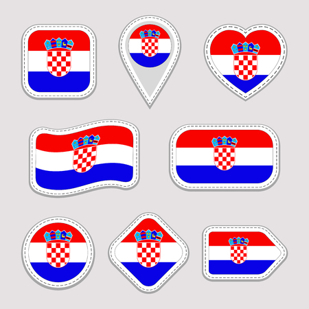Croatia flag stickers set. Croatian national symbols badges. Isolated geometric icons. . Vector official flags collection. Sport pages, patriotic, travel, school, design elements. Different shapes. Illustration