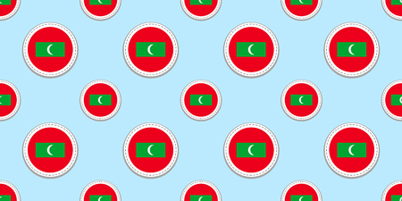 Maldives round flag seamless pattern. Maldivian background. Vector circle icons. Geometric symbols. Texture for travel, sports pages, competition, games design elements. patriotic wallpaper
