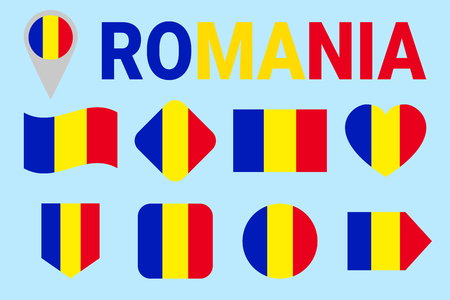 Romania flag vector set. Different geometric shapes. Flat style. Romanian flags collection. For sports, national, travel, geographic design elements. isolated icons with state name Ilustracja