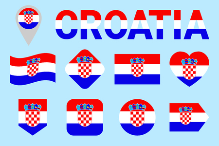 Croatia flag vector set. Different geometric shapes. Flat style. Croatian flags collection. For sports, national, travel, geographic design elements. isolated icons with state name. Illustration
