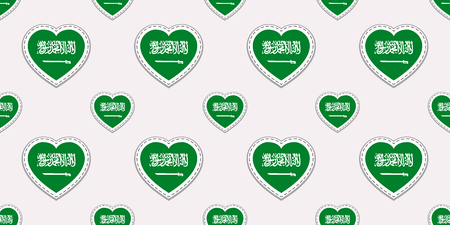 Saudi Arabia flags background. Saudi Arabian flag seamless pattern. Vector stickers. Love hearts symbols. Good choice for sports pages, travel, patriotic, geographic, elements. patriotic wallpaper  イラスト・ベクター素材