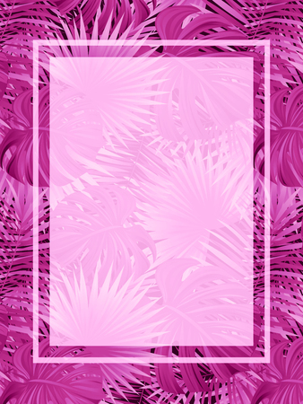beautiful tropic vector frame. exotic vector poster with place for text. Tropical background. Jungle plants and leaves. Bright pink and purple colors. for spring, summer images and romantic designs