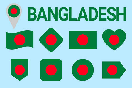 Bangladesh flag vector set. Geometric shapes. Flat style. Bengali natioanl symbols collection. sports, national, travel, geographic, patriotic, design elements. isolated icons with state name