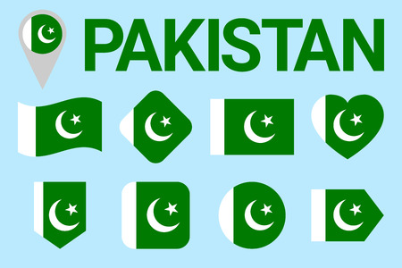 Pakistan flag vector set. pakistanian natioanl symbols collection. sports, national, travel, geographic, patriotic, design elements. isolated icons with state name.Geometric shapes. Flat style
