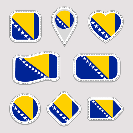 Bosnia and Herzegovina flag vector set. Bosnian flags stickers collection. Isolated geometric icons. National symbols badges. Web, sport page, patriotic, travel design elements. Different shapes  イラスト・ベクター素材