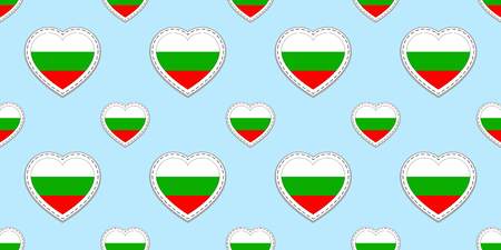 Bulgaria flags background. Bulgarian flag seamless pattern. Vector stickers. Love hearts symbols. Good choice for sports pages, travel, patriotic, geographic, elements. patriotic wallpaper. Ilustração