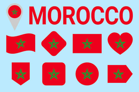 Morocco flag vector set. Geometric shapes. Flat style. Moroccan natioanl symbols collection. sports, national, travel, geographic, patriotic, design elements. isolated icons with state name