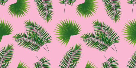 Palms leaves seamless pattern. Cute tropical template background. vector illustration. jungle plants texture. beautiful tropic wallpaper. Spring, summer design. Bright colors