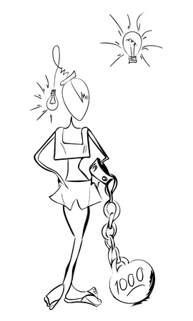 fresh idea: Girl with glowing light bulb head having idea how to solve difficult problem hand drawn art sketch. Creative problem solution, fresh idea and thinking out of boxes concept.