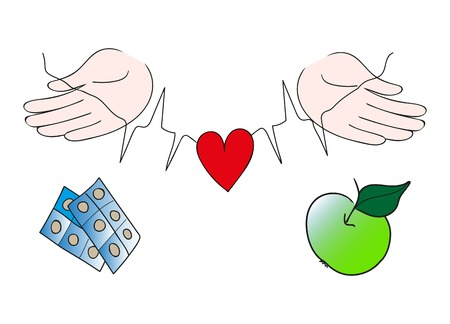 rythm: Hands holding stroke line and protecting red heart giving choice between drugs and green apple. Healthy food and life style, high blood pressure, heart disease prevention concept.