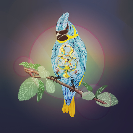 emphatic: Blue bird on a branch Illustration