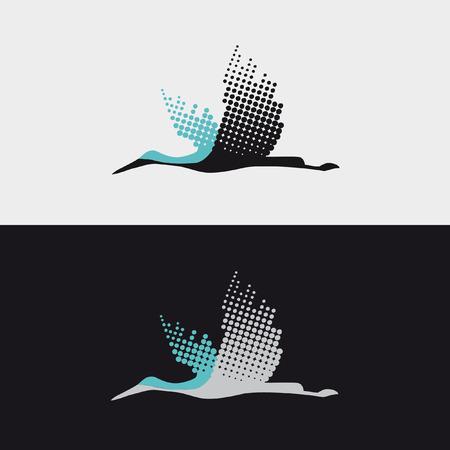 Vliegende vogel ooievaar