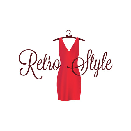 red dress: Red dress on a shoulder in retro style Illustration