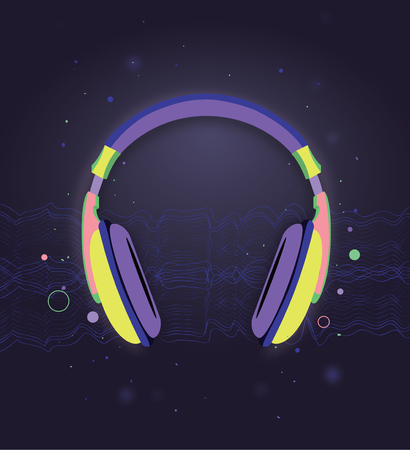 bright: bright colorful headphones