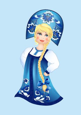 chica en traje tradicional ruso Ilustración de vector