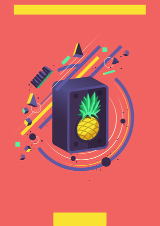groovy: Music abstract Illustration. Pineapple and speaker.