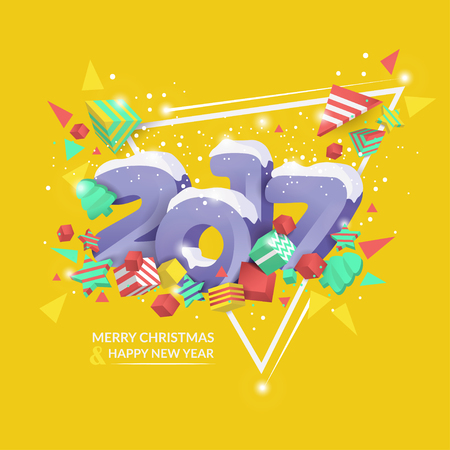 Vector illustration. 2017 Merry Christmas and Happy New Year