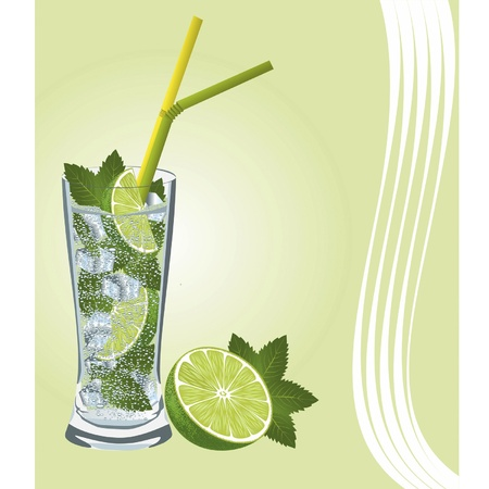 The picture presents Mojito Cocktail with its main ingredients - lime and mint, against a light background
