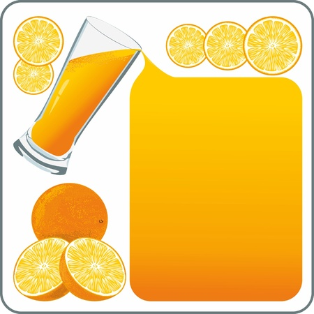 Orange juice flows out and creates a frame