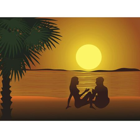 Sunset of a sun, fellow and girl, is drawn ashore in form silhouettes Vector