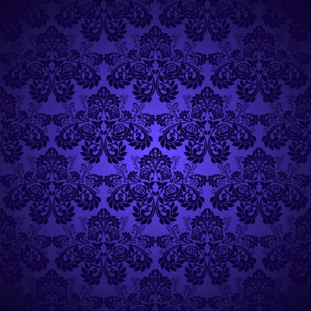 Dark blue wallpaper - pattern with roses Vector