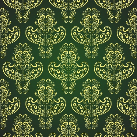 Seamless wallpaper in style retro   gold on rifle-green Vector
