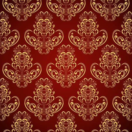 Seamless wallpaper in style retro   gold on crimson Vector