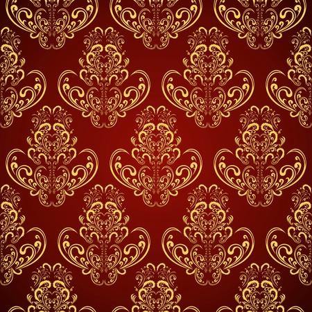 crimson: Seamless wallpaper in style retro   gold on crimson