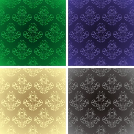 Seamless wallpapers set of four colors Vector