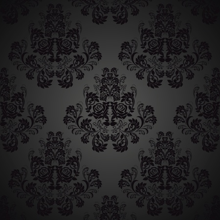 rococo: Seamless Black wallpaper- pattern with roses
