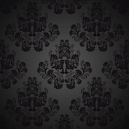 Transparente Negro wallpaper-patrón con rosas Foto de archivo - 13070387
