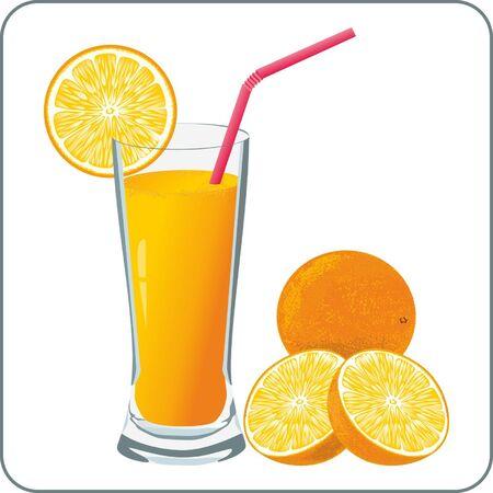 orange juice glass: Orange juice and oranges Illustration