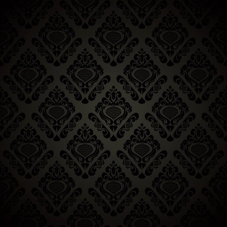 Seamless black wallpaper - style retro. Vector illustration(EPS10). Иллюстрация