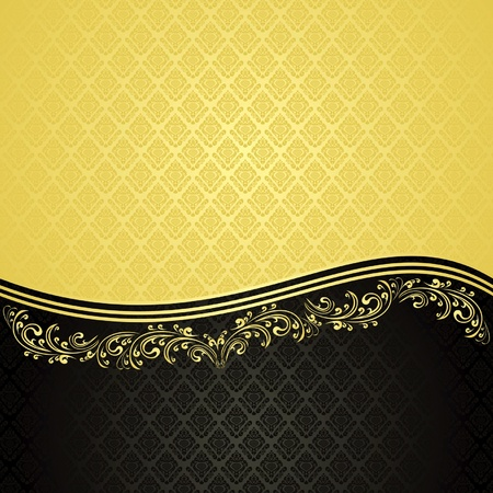 Luxury Background decorated a Vintage ornament : gold and black (EPS10) Vector