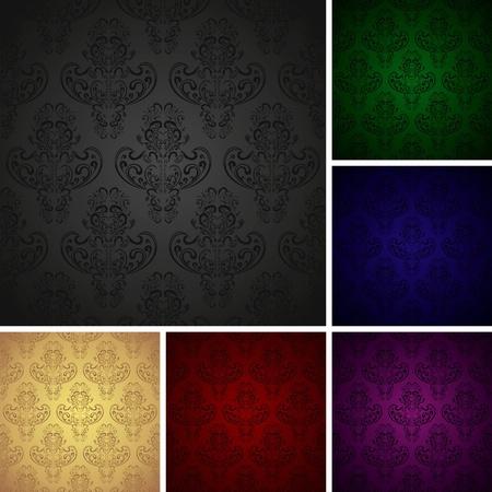 Fonds d'écran sans soudure dans le style rétro - ensemble de six couleurs (eps10) Vecteurs