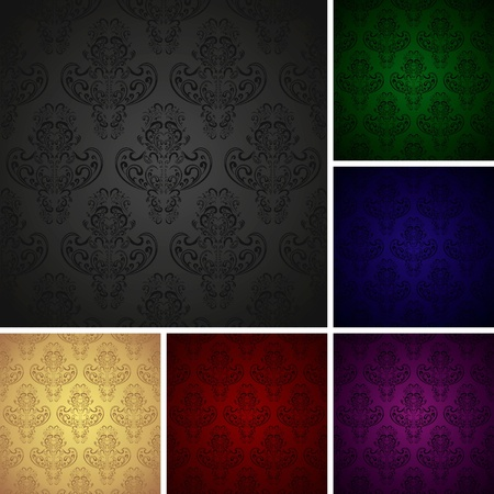 Seamless wallpapers in retro style - set of six colors (EPS10)