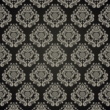 Seamless wallpaper in retro style - silver ornament on black Stock Vector - 13498702