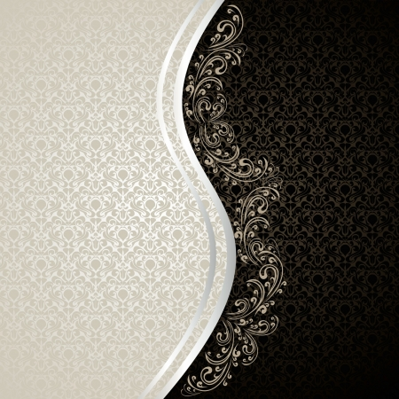 Luxury Background decorated a Vintage ornament: silver and black Vector