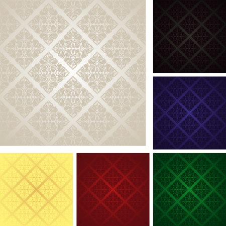 Seamless wallpapers - set of six colors  EPS 10  Vector