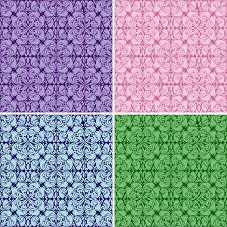 Seamless wallpapers - set of four colors  absent gradient  Vector