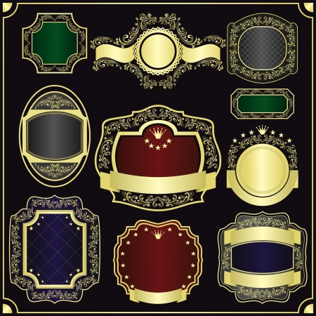 Vector set of the gold framing for labels - style vintage (EPS 10) Stok Fotoğraf - 14982009