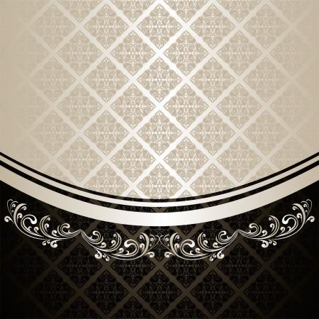 Antecedentes de lujo decorado un ornamento Vintage: plata y carbón (EPS 10) Foto de archivo - 14982013