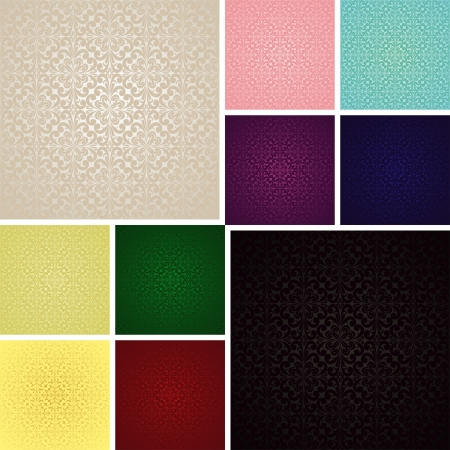 Seamless wallpapers - set of ten colors (EPS 10)