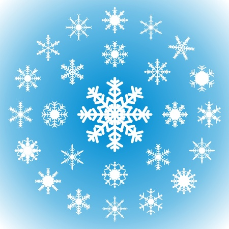 Snowflakes on a blue background - set of 25 pieces. Stock Vector - 15388386