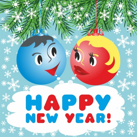 Christmas balls with a faces in the animated style: Happy New Year! Illustration