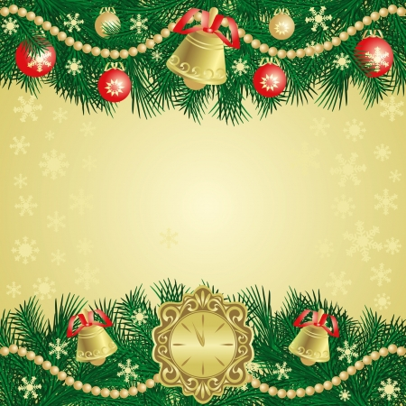 branch of a christmas tree: Christmas background with bells.
