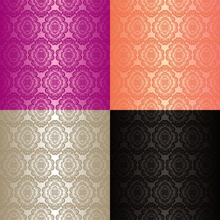 purple silk: Seamless wallpapers - set of four colors  Illustration